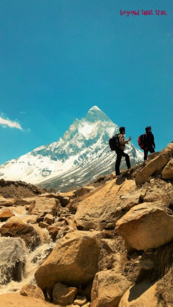 mountain guide Rajvir with Karishma on the way to Tapovan, further up from Gangotri. Mt.Shivling in the background